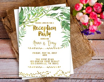reception party gold invitation, modern reception party invitation, Elopement Reception Invitation, simple wedding invite, Reception Only