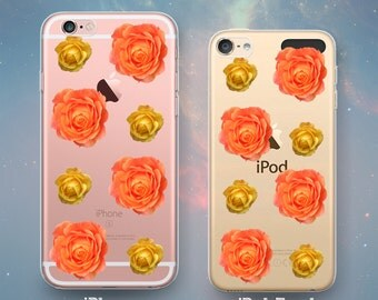 Orange & Yellow Roses Rosebuds Pattern Flowers Vintage Golden Yellow Floral Clear Rubber Case for iPhone 7 6s 6 Plus SE 5s 5 5c iPod Touch