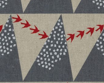 1/2 yard KOKKA Echino Cotton Linen Canvas| Hill | 96700-700-D Gray Hill Raspberry Birds
