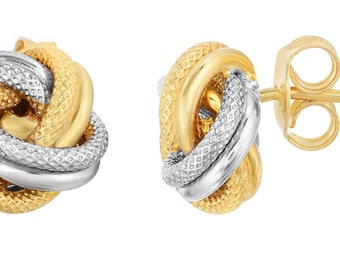 10kt Yellow+White Gold Shiny+Textured Loveknot Post Earring with Push Back Clasp
