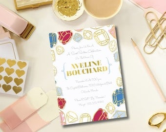 Glam Gold Sweet Sixteen Gem DIY Printable Invitation