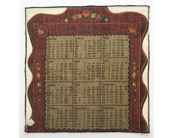 1963 Calendar handkerchief, French language, with original Stoffels sticker, hankie, hanky, H10
