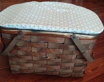 Vintage Wood Weave Picnic Basket