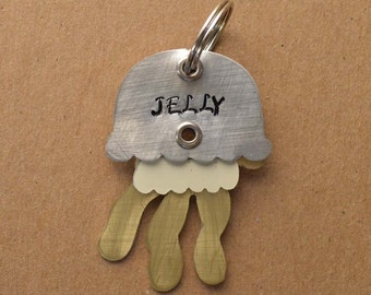 Jellyfish Pet Tag Dog ID Metal Animal Fish Nautical Sea Jelly