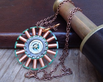 Copper Wire and Recycled Circuit Board Necklace. Reversible. Unique. Salvaged. Chain included. FREE SHIPPING in U.S.!
