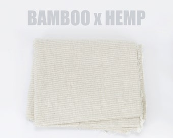100% Organic Bamboo x Hemp Fabric - Natural Soft Hemp Bamboo Fabric Woven in Northern Thailand, Organic Fabric, Natural Fabric, Cream Fabric