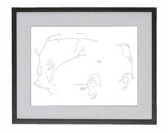 Original drawing of the Volkswagen Transporter Hippie Bus