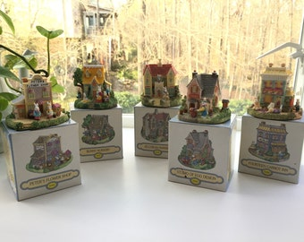 "Set of 5 ""The Bunny Family Village"" collectible houses-1994"