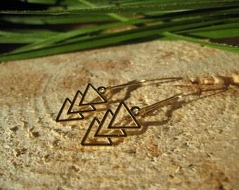 24k Gold Plated Sterling Silver Triple Arrow Triangle Geometric Earrings