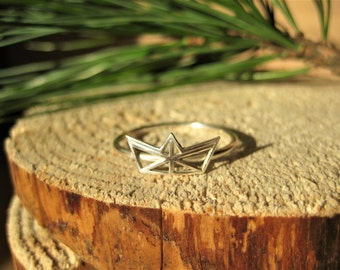 Sterling Silver Origami Sail Boat Geometric Ring