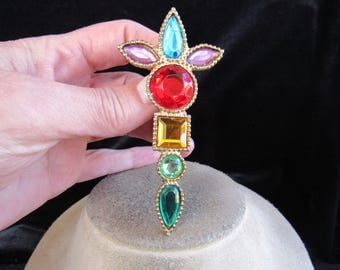 Vintage Large Multi Colored Glass Stone Goldtone Pin