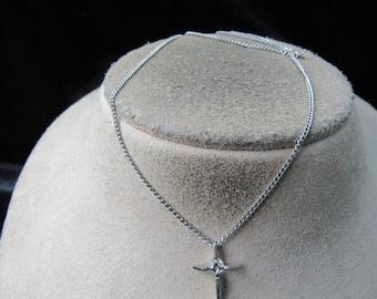 Vintage Religious Silvertone Rhinestone Cross Pendant Necklace
