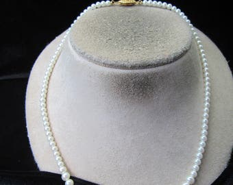 Vintage Graduated White Faux Pearl Necklace