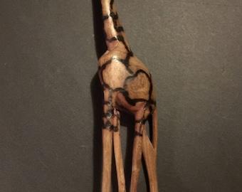 Vintage Africa hand carved Giraffe wood