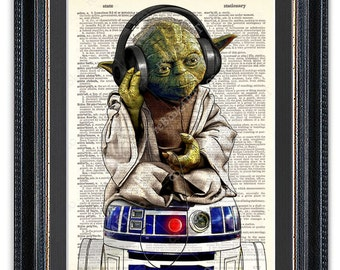 Yoda With Headphones, Sitting on R2-D2, Dictionary Art Print, Star Wars Art Print, Star Wars Yoda, Star Wars R2-D2