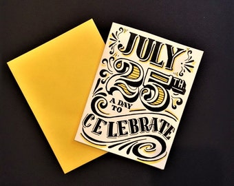 yellow black and white hand lettered customized birthday card