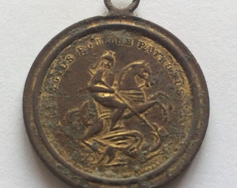 Original Vintage Medallion - talisman for sailors, St. George Bronze, remnants of gilding