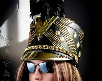 """Burning Man Hat, Marching Band Festival Hat w Plume: """"Disco""""  ~ Size Med"""