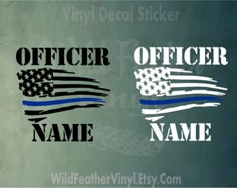 Personalized Thin Blue Line American Flag with Name - Police Officer - Back The Blue - Police Support - Police Officet Support - Vinyl Decal