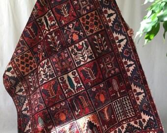 Armenian rug, unique colorful rich handmade vintage wool 5x7ft