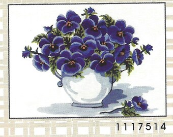 Collection d'Art-PANSY FLOWERS-Needlepoint Canvas #1117514- Size-8.7 x 11.8-inch