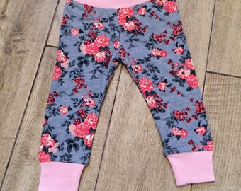 Pretty baby and toddler slate grey and pink floral leggings.
