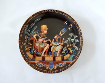Egyptian revival plate, collector plate 1991, King Tut, Tutankhamun, ancient Egypt, limited edition Bradex plate, home decor