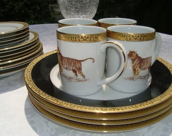 Luxe Royal Gallery Gold Buffet LEOPARD Tiger 20 Pc Gold Encrusted 1991 Porcelain Set