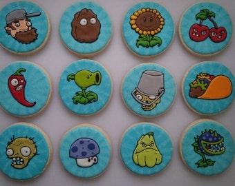 Plants vs. Zombies Cookies - One Dozen Decorated Cookies