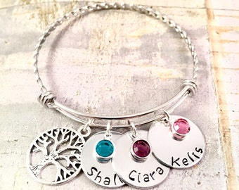 Mother's bracelet, Name charms bracelet , Family Tree Bracelet, adjustable bangle bracelet braided, personalized Jewelry, push present