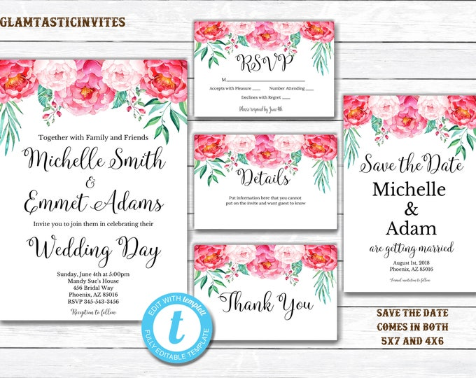 Floral Wedding Template, Wedding Invitation Template, INSTANT Download, DIY Invitation, Floral Invitation, Editable Wedding Invitation, DIY