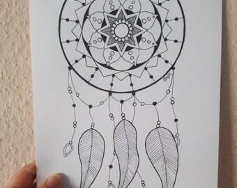 Mandala dreamcatcher, mandala art print
