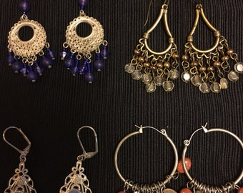 Four Pairs of Vintage Chandelier Earrings