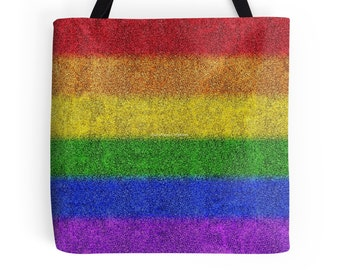 Rainbow Glitter Gradient Tote Bag, 3 Sizes Available!
