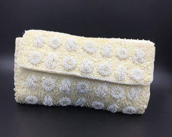 Vintage White and Ivory beaded and sequence bridal clutch.