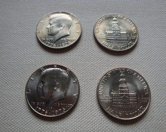 Coins - Kennedy Half Dollars, Bicentennial, 1776-1976, P & D Set