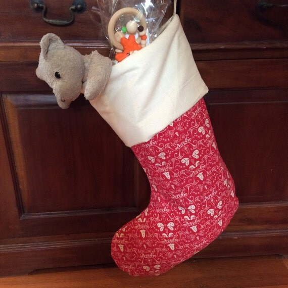 Christmas Stockings, Large Quality Padded and Lined, 55cm Long, Calico & Red Festive Bell