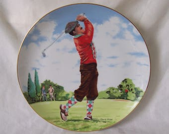 The Golfer Limited Edition Plate Designed by David Fisher Golf Plate c.1987