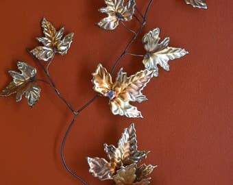 Vintage Metal Leaves / Maple Leaves/ Wall Decor/ Wall Plaque/