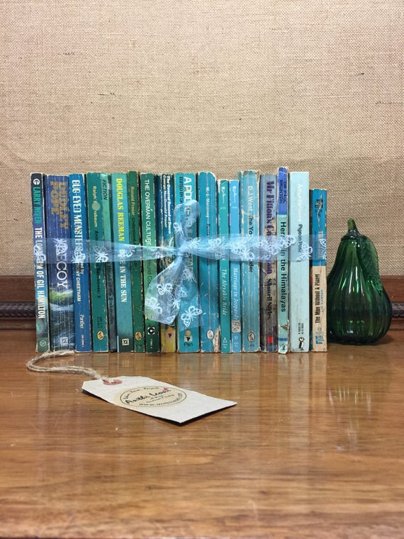 Foot Long Paperback Book Collection - Instant Book Stack - Interior Design Shelf Staging - TEAL BLUE GREEN Home Decor - Vintage Books