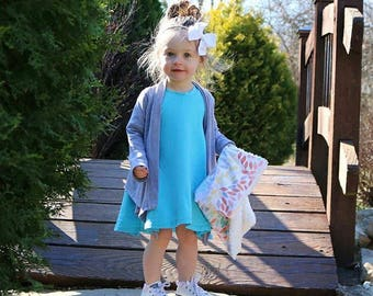 Turquiose Dress Tunic Dress Baby Girl Dress Baby Dress  Girl Dress Toddler Dress  Baby Dress Long Sleeve Dress Little Girl