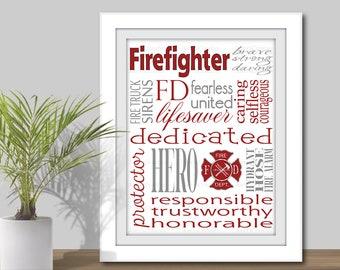 Firefighter Subway Art - 3 sizes 5x7, 8x10 & 11x14 JPEG, Printable. Fireman Gift, Firefighter gift, Fire Fighter Word Art, Occupation