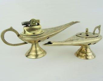 Vintage Lot Brass Ornate Aladdin Oil Lamp Table Lighter and Genie Lamp Incense Burner Set~Retro Incense Burner Hippy