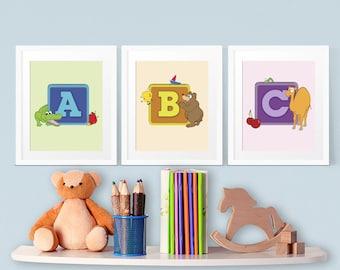 Kids Room ABC Alphabet Vector Wall Art Decor 8' x 10' INSTANT DOWNLOAD