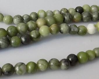"Natural Green 6mm Round Jungle Jasper Gemstone Beads (15"" Strand)"
