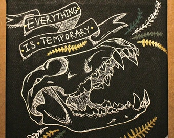 """Coyote Skull Painting Black Canvas """"Everything Is Temporary"""""""