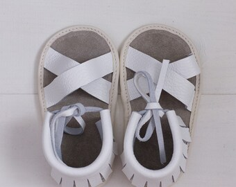White Baby Sandals, Baby Sandals, leather sandales, baby leather sandales