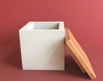 Concrete Stash Box with Wood Lid