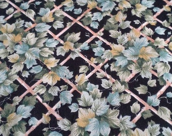 Leaves on Black Background Fabric