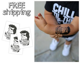 """Set of 3 tatts """"Pirate Hedgehig"""". Kids temporary tattoos with nautical black and white design. Sailor """"Sea and Salt forever"""". TT100"""